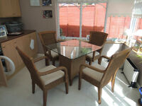 Table & Chairs Rattan type PRICE REDUCED TO SELL
