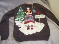 CHRISTMAS JUMPER UNISEX COOL SNOWMAN WITH CARROT NOSE AND SHADES!