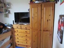 Pine childrens wardrobe and chest of drawers