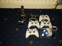 4 x Xbox 360 Controllers Wireless/Wired, Official Controllers