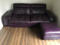 Aubergine 3 & 2 seater leather sofa with foot stool.