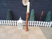 SOLID PINE TALL CANDLE HOLDER WITH A BEAUTIFUL HANDMADE DETAILS