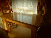 solid oak dinning groom table 6 chairs