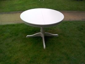 Table, white IKEA , sturdy, extends to make oval. 2 matching chairs also available