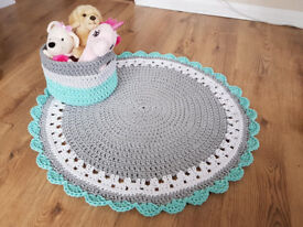 100% handmade knitted cotton rug and toys basket
