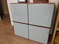 Two Sets of Hand Painted Wooden Pine Shelves/Cupboards