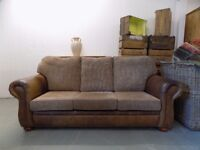 Brown Antiqued Leather & Fabric 3 Seater Sofa & Armchair