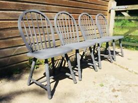 Set of Four Farmhouse Kitchen Chairs French Grey