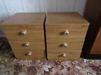Two Wood Effect Bedside Cabinets