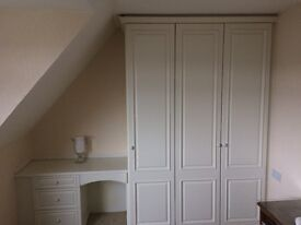 Fitted triple wardrobe, dressing table. bedroom, kitchen, pantry, white excellent condition.