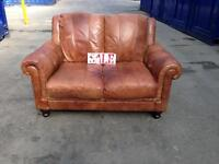 Chesterfield brown tan distressed leather 2 seater sofa excellent genuine baker & storehouse