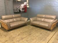 STUNNING DELUX DECO HARBOR GREY LEATHER/SUEDE SOFA SET LIKE NEW RRP £2899
