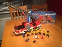 Vintage Playmobil Fire Engine 3781 with box.