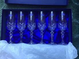 Royal Doulton finest crystal champagne flutes