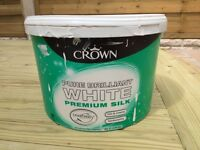 Crown Pure brilliant white premium silk, 5 litres, collected or delivered