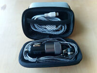 Hard Storage Case With Headset Car Charger & Lightning Cable Silver