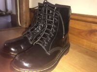 Black patent traditional Doc Marten boots