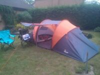 Four person tent for sale, with additional equipment.