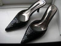 Next - Ladies black sequin kitten heel shoes - as new