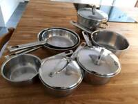 Sauce pan set stainless steel with copper bottoms