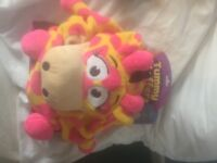 FREE DELIVERY NEW LARGE TUMMY STUFFER PINK YELLOW GIRAFFE PJ HOLDER PLUSH TOY