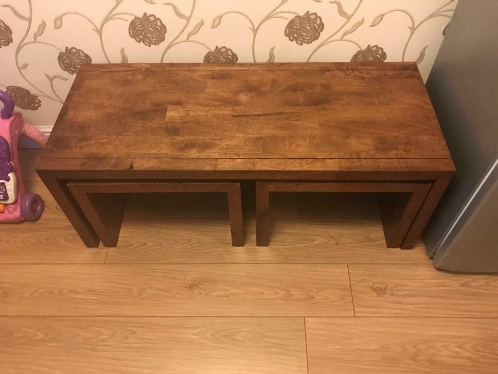 Solid Mango Wood Dakota Long John Coffee Table Nest