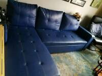 Faux leather BLUE corner sofa