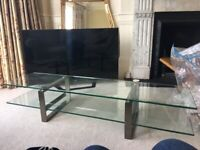 TV glass and chrome stand