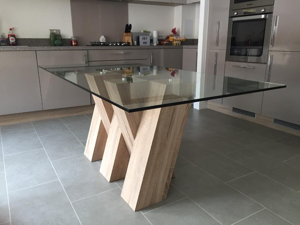 Piston Light Oak Glass Dining Table Harveys