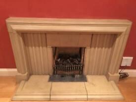 Fireplace, limestone