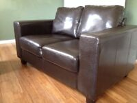 Sofa - 2 seater , dark brown faux leather