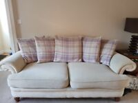3 seater, 2 seater sofas and pouffe.