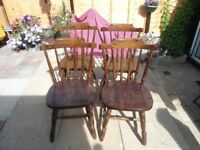 VINTAGE COUNTRY FARMHOUSE SOLID WOOD CHAIRS X 4
