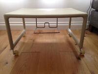 Jasper Morrison TV table, cream, plastic - adaptable as cool coffee table!