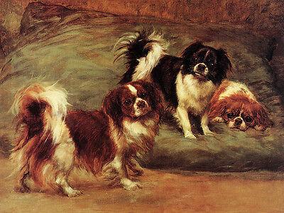 TIBETAN SPANIEL CHARMING DOG GREETINGS NOTE CARD THREE DOGS ON CUSHION