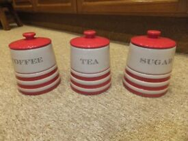 set of 3, coffee, sugar and tea jars