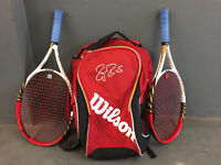 """2 WILSON PROSTAFF 24 """" RAQUETS WITH MATCHING ROGER FEDERER BAG"""