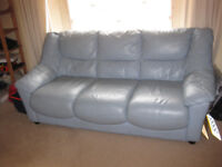 Nice blue Leather 3 seater sofa in good condition from smoke free house going CHEAP