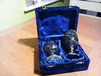 Pair of marble effect gothic style goblets