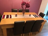 7 x 4 Slate Bed Snooker / Pool Oak Dining Room Table And 8 Chairs - STUNNING