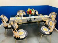 💖💖LUXURY DESIGN💖💖 EXTENDING DINING TABLE AND 6 CHAIRS WITH OPTIONS OF DELIVERY