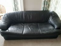 Black leather couch 2 + 3 seater