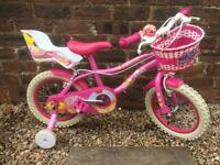 "Girls bike 14 inch, childs bicycle, pink, with stabilisers, sprinkle cupcake, 14"" bike"