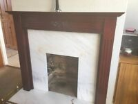 Rose Wood Surround Fireplace, Solid Marble BackPanel With Solid Hearth inc Extendabke Brass Fender