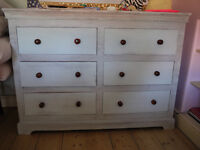 """""""Shabby Chic"""" chest of draws. Very nice piece! With two matching bedside cabinets"""
