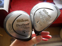 Mens woods, 3 and 5, steel shafts Wilson pro staff offset.
