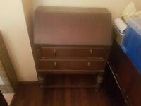 Antique solid wood writing bureau