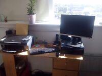 Computer,printer,monitor perfect set up