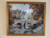 Oil painting of Baslow bridge by Dronfield artist Pete Holloway