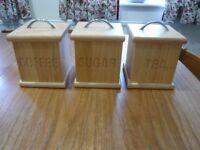 Wooden Coffee, Tea & Sugar Storage Container Set